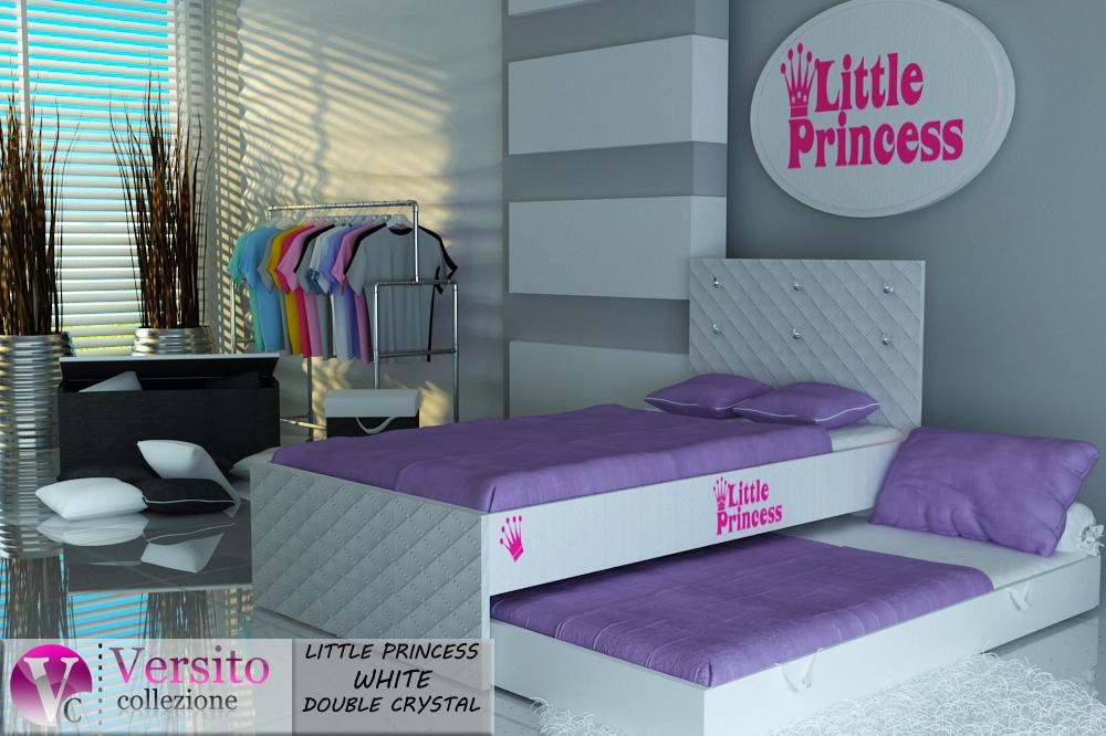 łóżko Piętrowepodwójne Tapicerowane Little Princess White Double Crystal